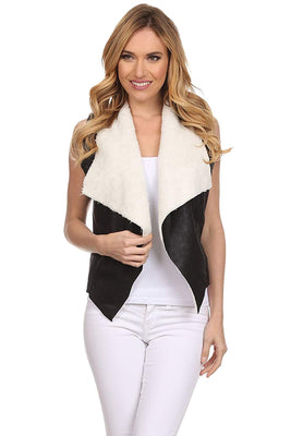Ambiance Apparel Juniors Faux Sleeveless Suede Outerwear Vest