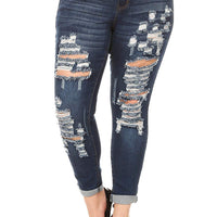 wax jean Plus Size Women's High Waist Distressed Skinny Jeans