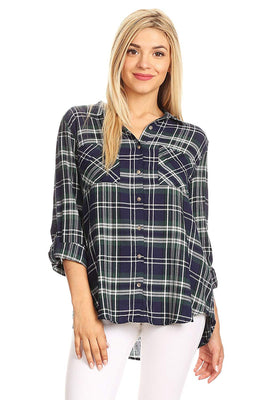 Ambiance Apparel Juniors Long Sleeve Plaid Navy Button Down Shirt