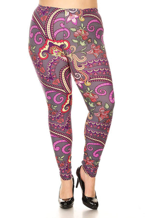 New Mix Women's Plus Size Knit Legging with Floral Print