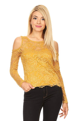 Ambiance Apparel Lace Long Sleeve Floral Top