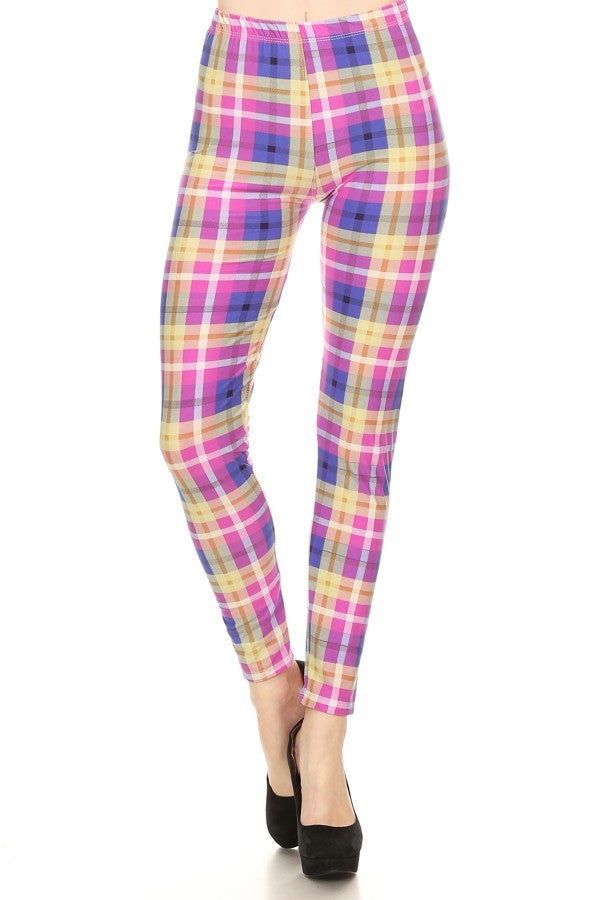 Print Leggings Pink Plaid