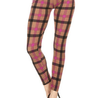 Print Leggings Red Plaid