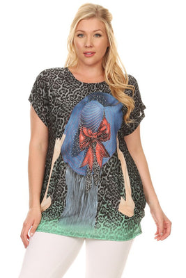 Plus Size Short Sleeve Shirt Print 6