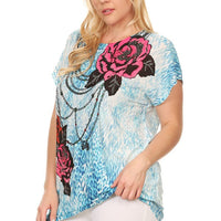 Plus Size Short Sleeve Shirt Print 19