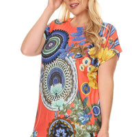 Plus Size Short Sleeve Shirt Print 24