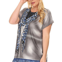 Plus Size Short Sleeve Shirt Print 25
