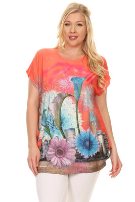 Plus Size Short Sleeve Shirt Print 30