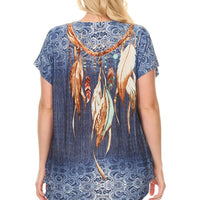 Plus Size Short Sleeve Shirt Print 33