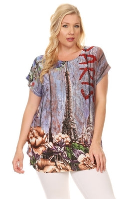 Plus Size Short Sleeve Shirt Print 35