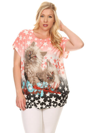 Plus Size Short Sleeve Shirt Print 36
