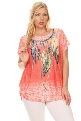 Plus Size Short Sleeve Shirt Print 38