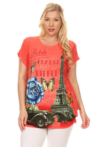 Plus Size Short Sleeve Shirt Print 40