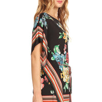 Mixed Floral Scarf Printed Relaxed Long Body Top