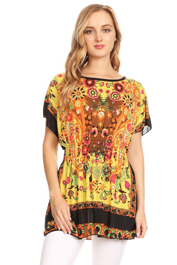 Abstract Yellow Floral Print Long Body Top