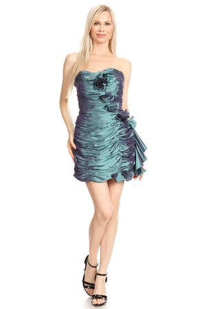 Teal Strapless Sheath Dress
