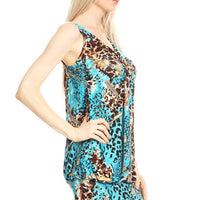 Sleeveless Mixed Animal Print A-Line Dress
