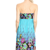 Strapless Turquoise Floral Print A-Line Print Dress