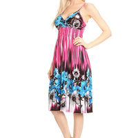 Sleeveless Floral Printed A-Line Print Dress