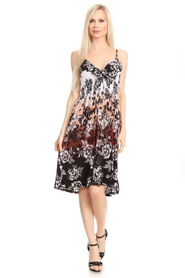 Sleeveless Floral A-Line Print Dress