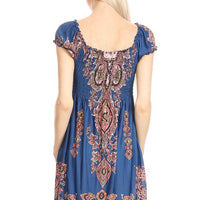Teal Tapestry Print Dress