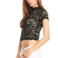 Lace Floral Crop Top Short Sleeves