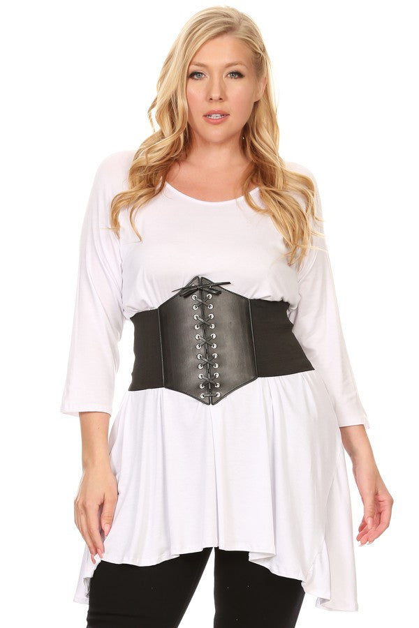 Solid Top With Faux Leather Belt