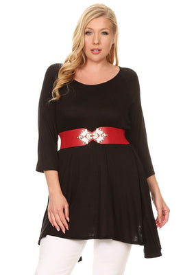 Solid Tunic Top With Faux Leather Belt