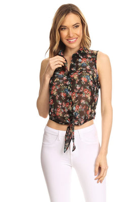 Sleeveless Floral Printed Top