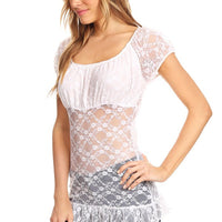 Lace Long Body Top Short Sleeves