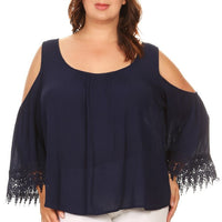 Solid Cold Shoulder Top