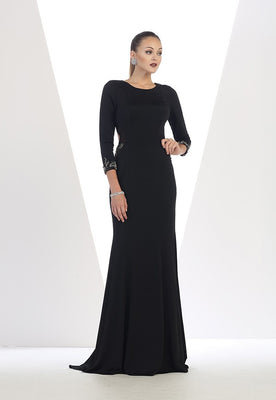 3/4 Sleeve Long Dress With Border Trim Detail