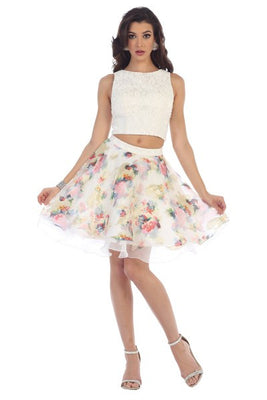Two-Piece Embroidered Tulle Dress With Layered Floral Accents