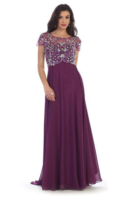 Long Chiffon Dress With Beaded Illusion Bodice