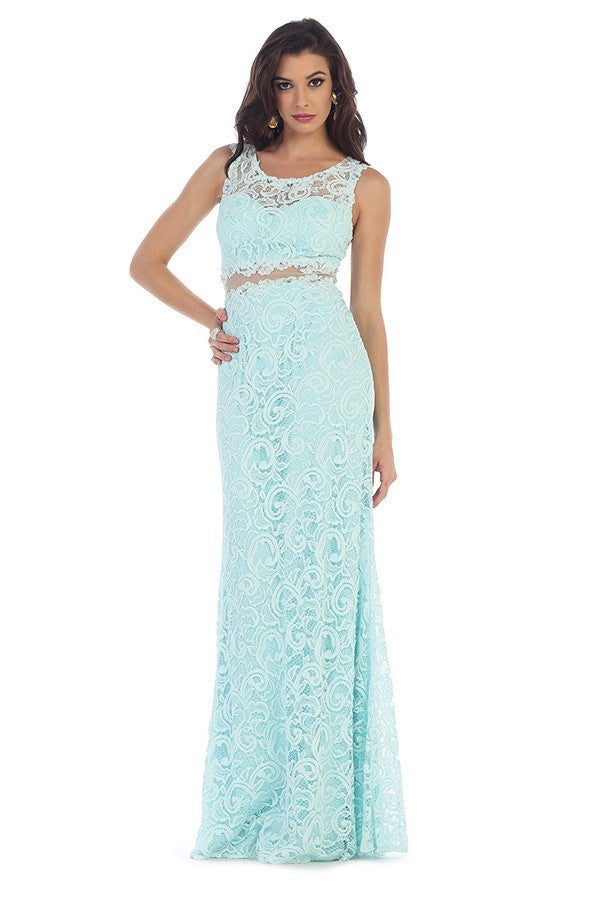 Sleeveless Embellished Lace Design Gown | Lavie Design USA