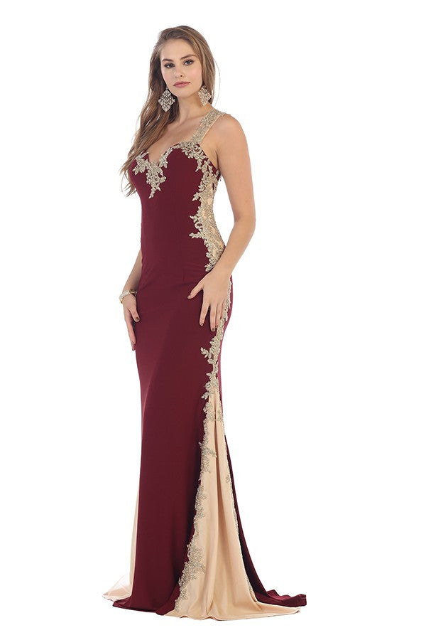 Long Embroidered Gown With Leaf Border Trim Design   Lavie Design USA