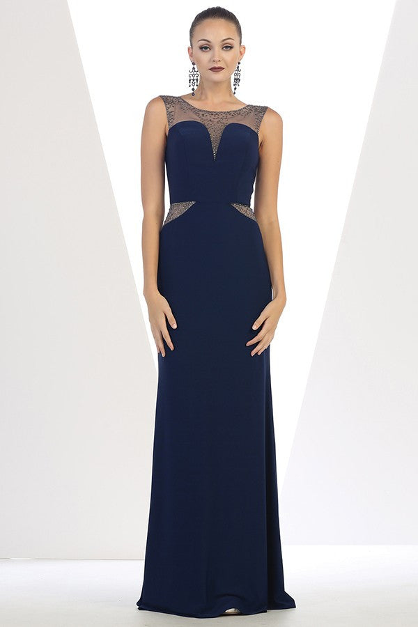 Long Sleeveless Mesh Gown With Rhinestones Design
