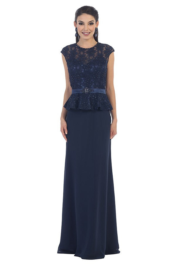 Cap Sleeve Long Lace Embroidered Dress With Belt