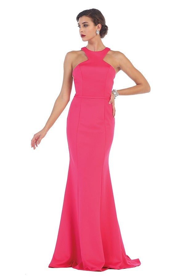 Solid Long Sleeveless Halter Gown