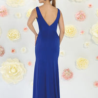 Solid Sleeveless Long Neck Gown