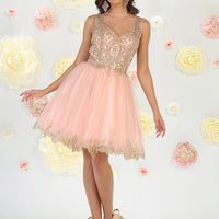 Embroidered Tulle Dress With Leaf Border Trim Design