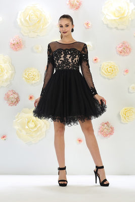 Illusion Long Sleeve Embroidered Tulle Dress
