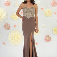 Sexy Slit Long Embroidered Gown
