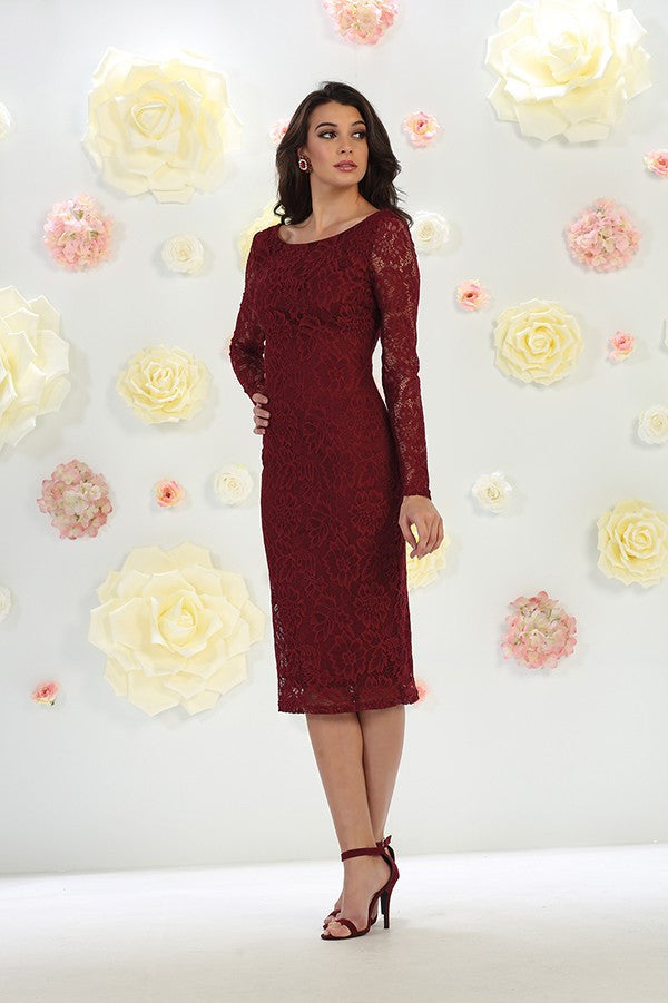 Long Sleeve Lace Foral Midi Dress