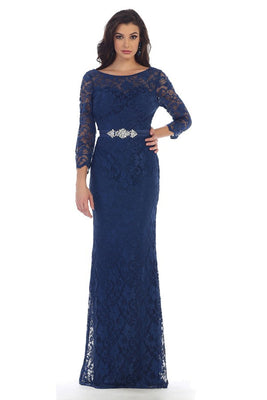 3/4 Sleeve Long Lace Dress With Belt Design
