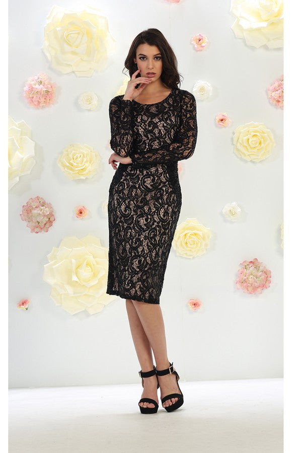 Long Sleeve Embellished Midi Lace Dress