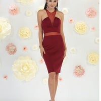 Embellished Halter Dress With Illusion V-Neck