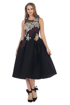 Cap Sleeve Embroidered Floral Mesh Dress