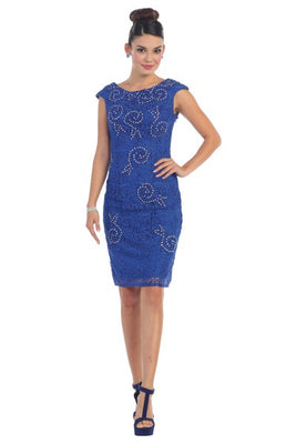 Cap Sleeve Beaded Embroidered Midi Lace Dress