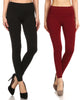 (2 Pack) Women's High Waisted Warm Solid Leggings